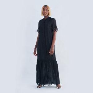 ZOE PLEATED CHIFFON DRESS